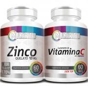 Zinco Quelato - 60 cáps. 12mg + Vitamina C - 60 cáps. 500mg (Aumentar Imunidade)