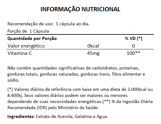 Acerola (Vitamina C) - 90 cápsulas de 500mg - Original  - LA Nature