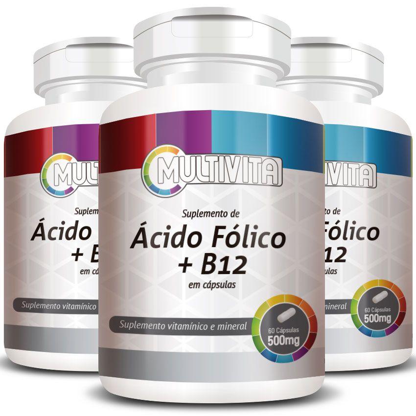 Ácido Fólico + B12, cápsulas de 500mg - 3 Potes  - LA Nature