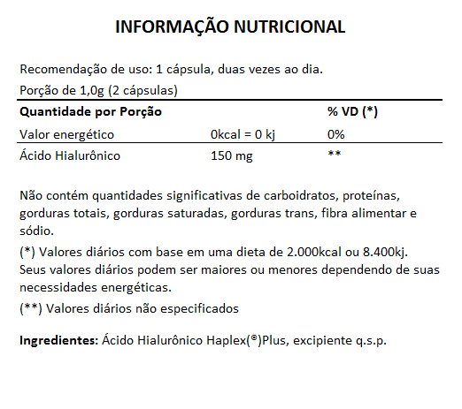 Ácido Hialurônico Haplex®Plus - 60 cápsulas de 500mg  - LA Nature