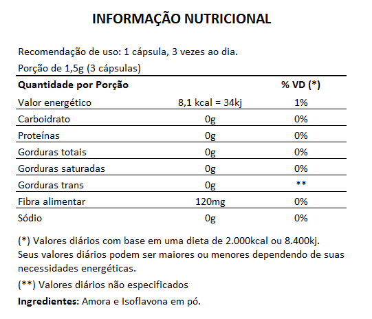Amora com Isoflavona 500mg - 05 Potes de 60 cápsulas  - LA Nature