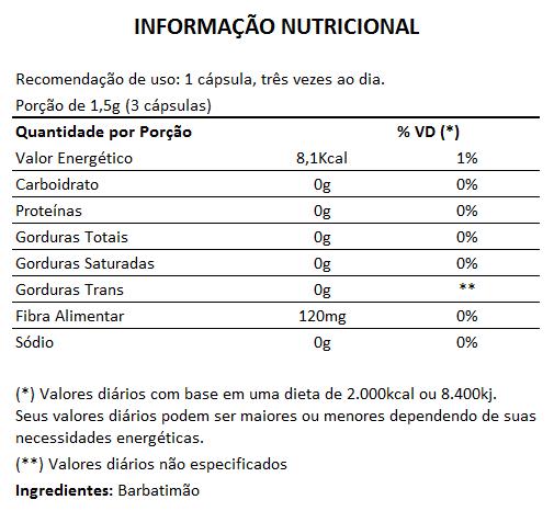 Barbatimão 500mg - 100% Puro - 60 cápsulas  - LA Nature