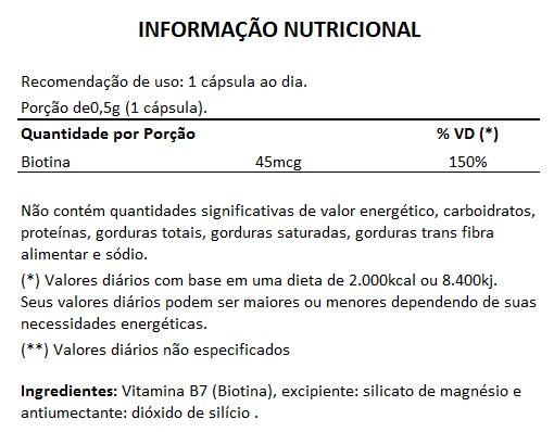 Biotina B7 45mcg - 05 Potes com 60 cápsulas  - LA Nature