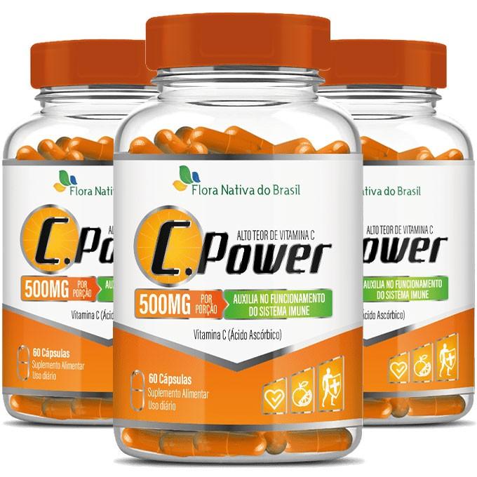 C.Power 500mg - Alto Teor de Vitamina C- 3 Potes com 60 cáps. (cada)