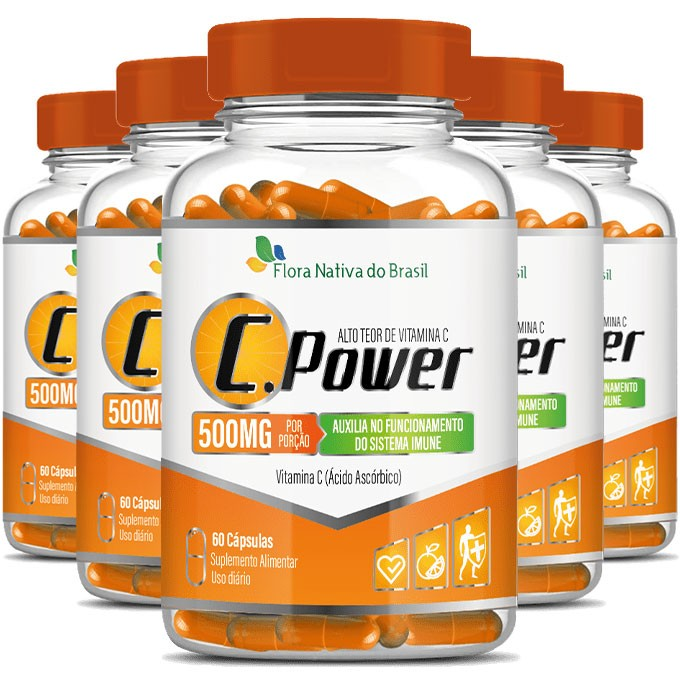 C.Power 500mg - Alto Teor de Vitamina C - 5 Potes (300 cáps.)