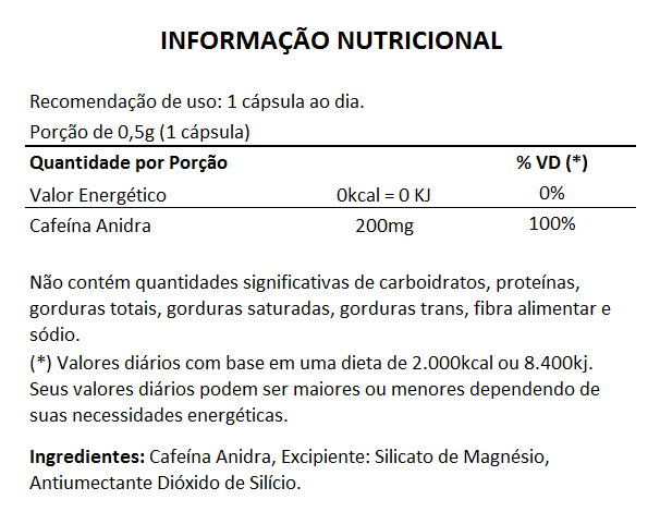 Cafeína - 60 cápsulas de 500mg  - LA Nature