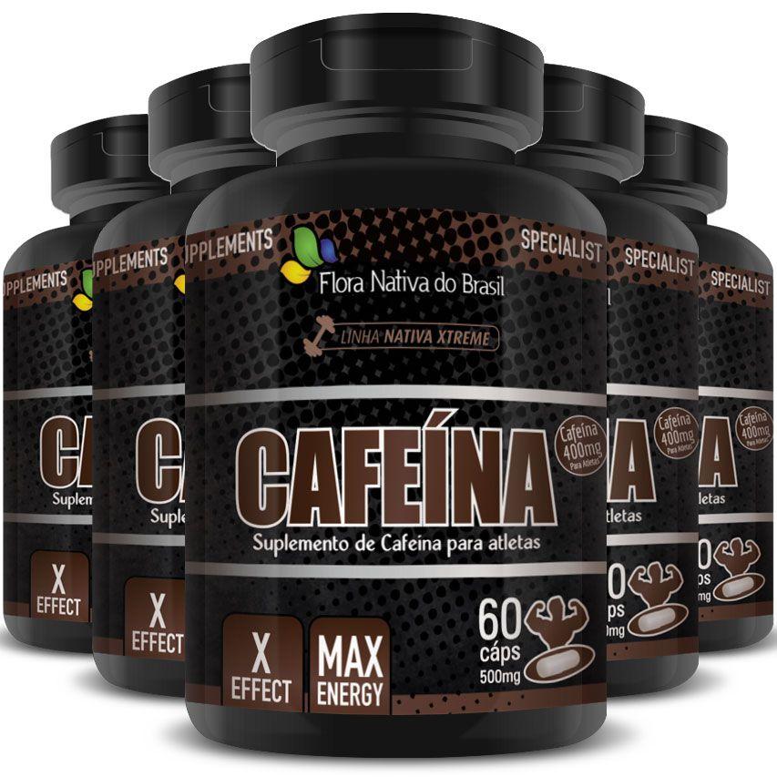 Cafeína em Cápsulas de 500mg - 05 Potes (300 cáps.)