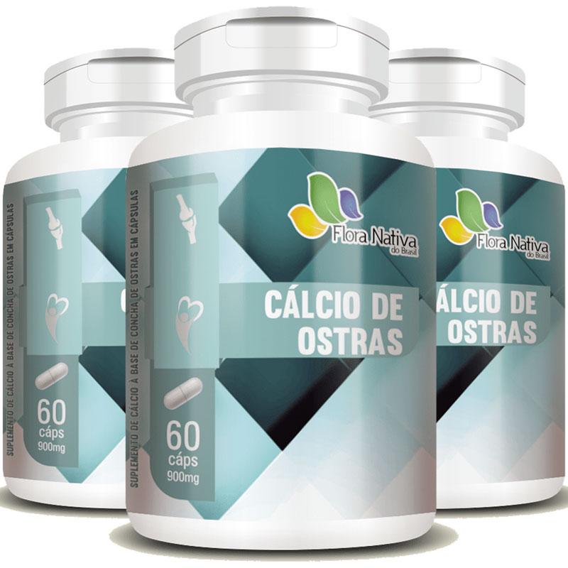 Cálcio de Ostras 900mg - 3 Potes (180 cáps)