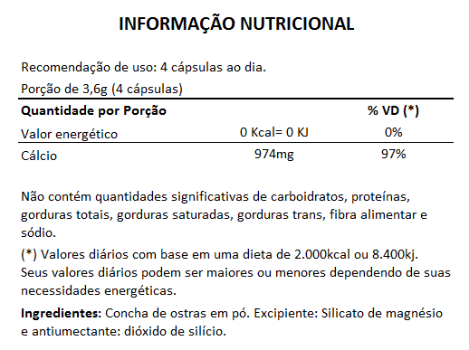 Cálcio de Ostras 900mg - 03 Potes com 60 cápsulas  - LA Nature