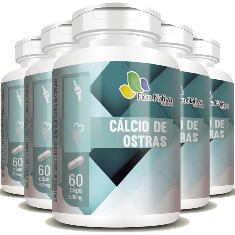 Cálcio de Ostras 900mg Saúde dos Ossos - 5 Potes (300 cáps)