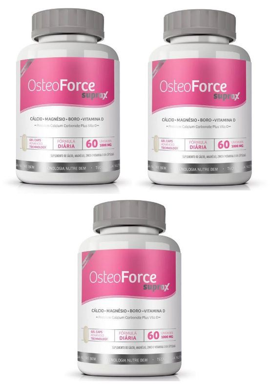 Cálcio Ossos OsteoForce Suprax 800mg - Original - 03 Potes - LA Nature