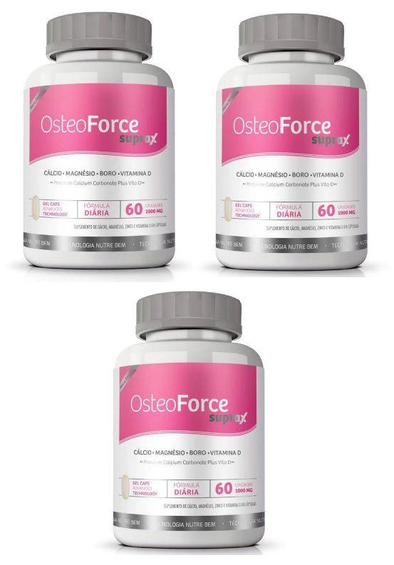 Cálcio Osteoforce Suprax Ossos Fortes 800mg - 03 Potes  - LA Nature