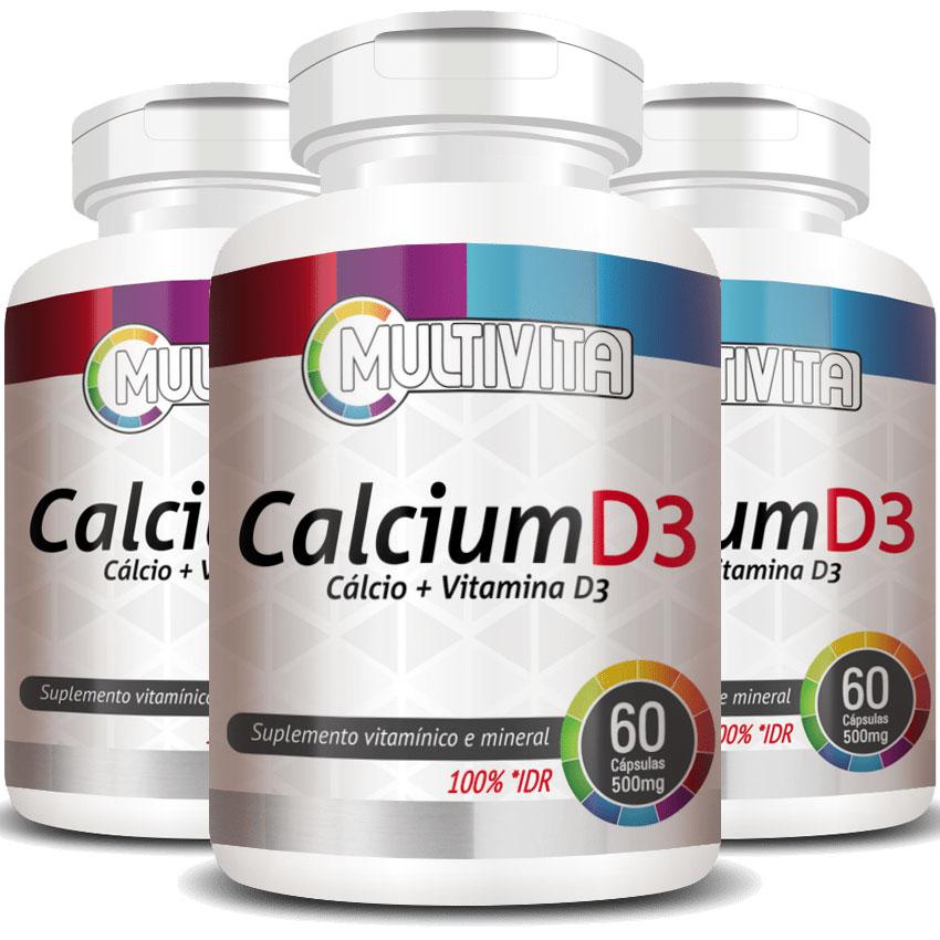 Calcium D3 500mg - Cálcio + Vitamina D3 - 3 Potes com 60 cáps. (cada)