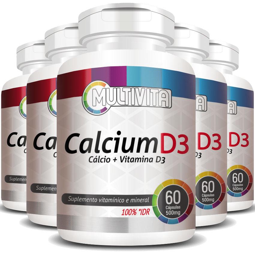 Calcium D3 500mg - Cálcio + Vitamina D3 - 5 Potes com 60 cáps. (cada)