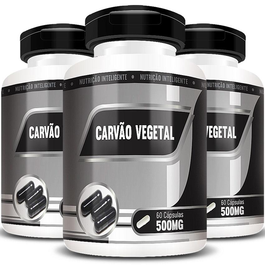 Carvão Vegetal 500mg - 100% Puro - 03 Potes - 180 cápsulas