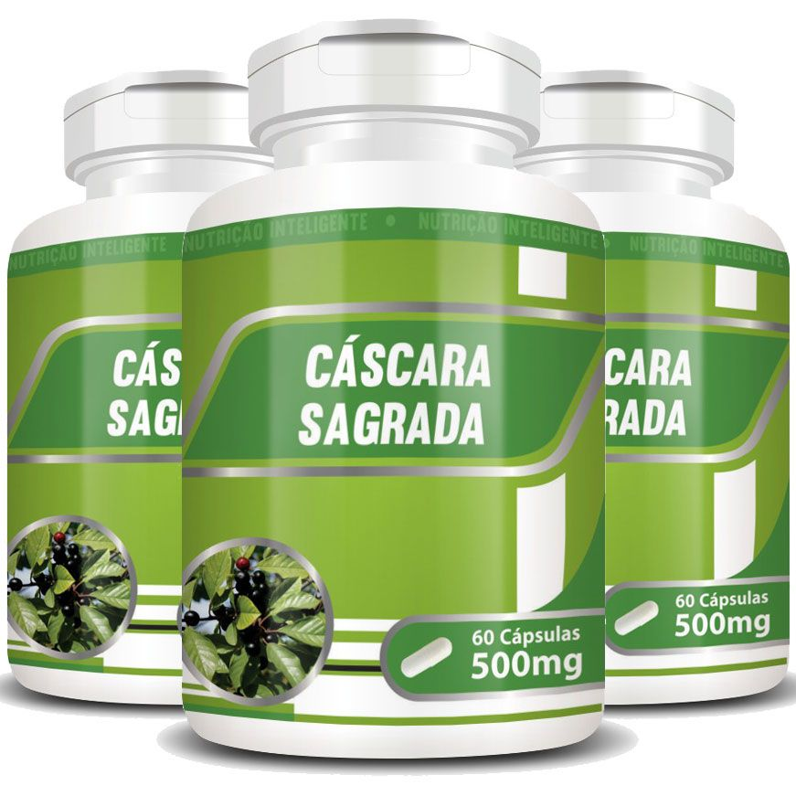 Cáscara Sagrada 100% Pura - 500mg - 3 Potes  - LA Nature