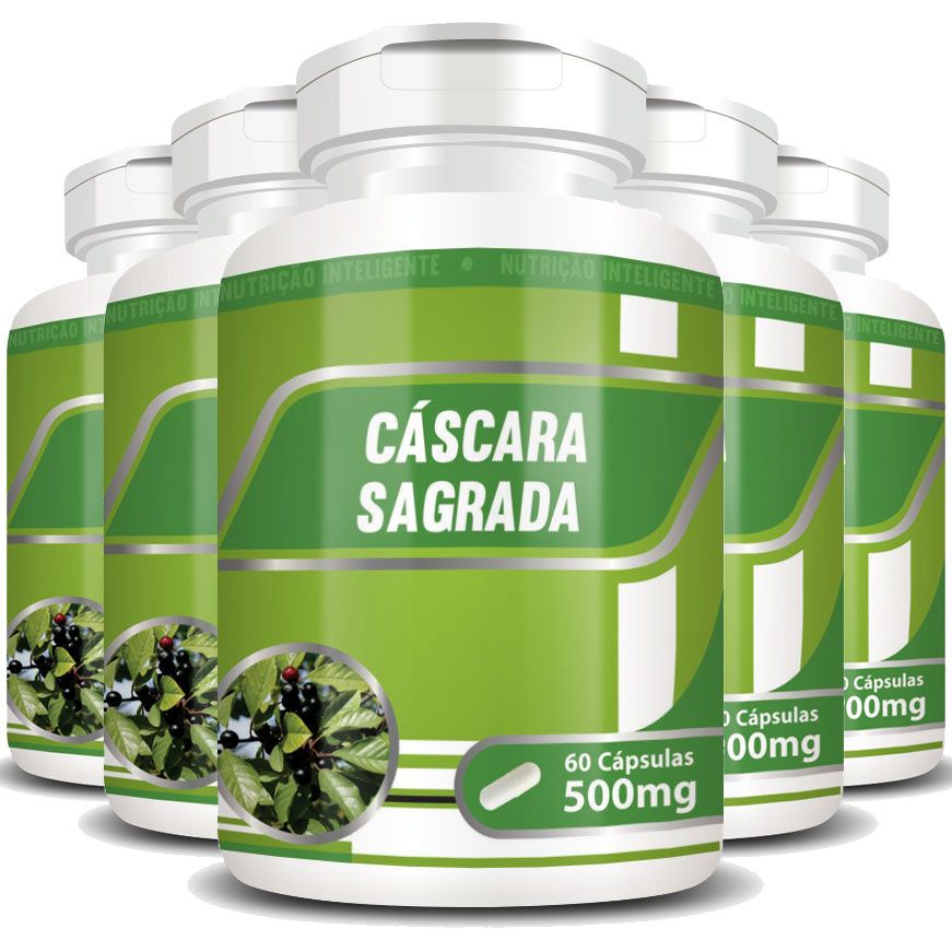 Cáscara Sagrada 100% Pura - 500mg - 5 Potes