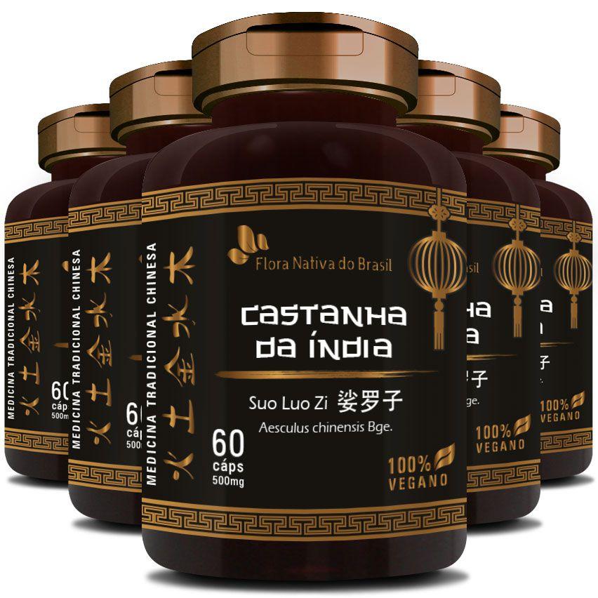 Castanha da Índia (Suo Luo Zi) - 500mg - 05 Potes  - LA Nature