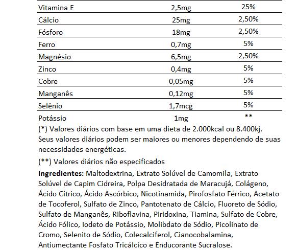 Chá de Camomila e Cidreira com Polpa de Maracujá e Colágeno, Solúvel - 200g  - LA Nature
