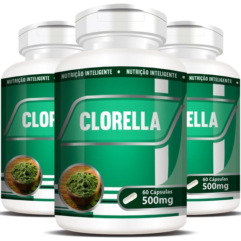 Clorela Original (Clorella) 500mg - Efeito Detox - 3 Potes (180 cáps.)