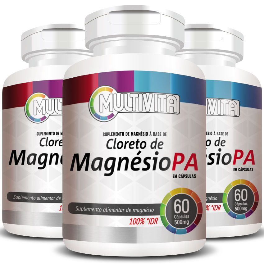 Cloreto de Magnésio PA 500mg - 03 Potes (180 cáps.)