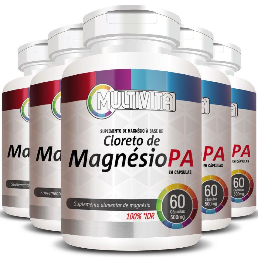 Cloreto de Magnésio PA 500mg - 05 Potes (300 cáps.)