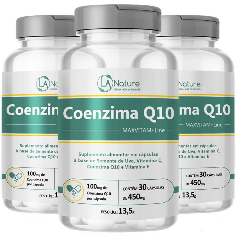 Coenzima Q10 - 450mg  - MaxVitam Line - 3 Potes (30 cáps. cada)