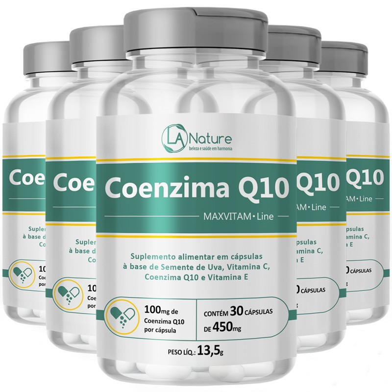 Coenzima Q10 Ubiquinona 100mg | MaxVitam Line Original - 5 Potes (150 cáps)