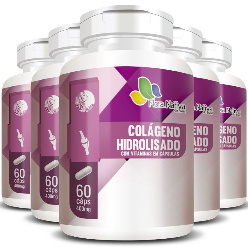 Colágeno Hidrolisado com Vitaminas - 400mg - 05 Potes  - LA Nature
