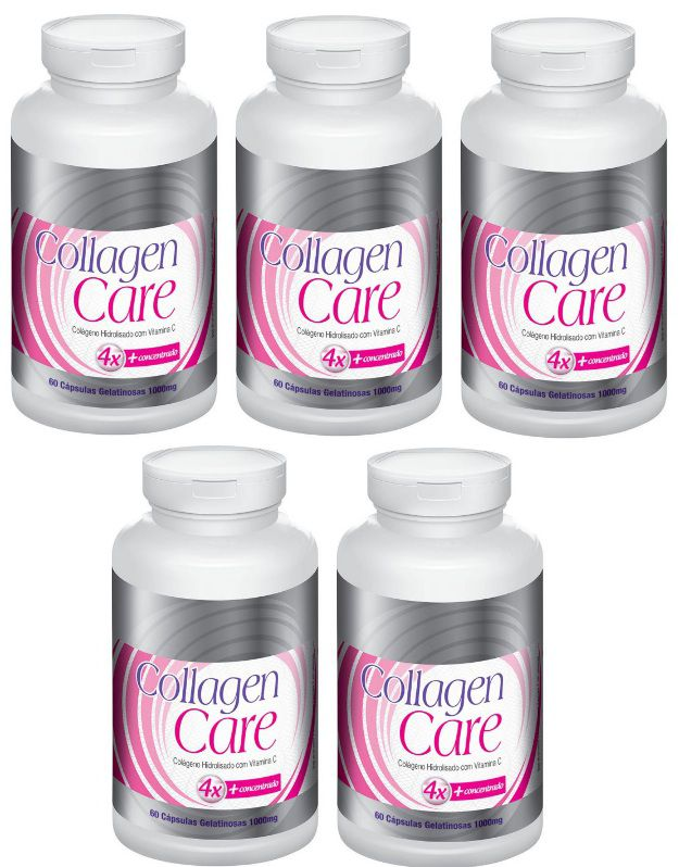 Collagen Care OrIginal Colágeno Hidrolisado +  Vitamina C  4X + Concentrado - 05 Potes  - LA Nature