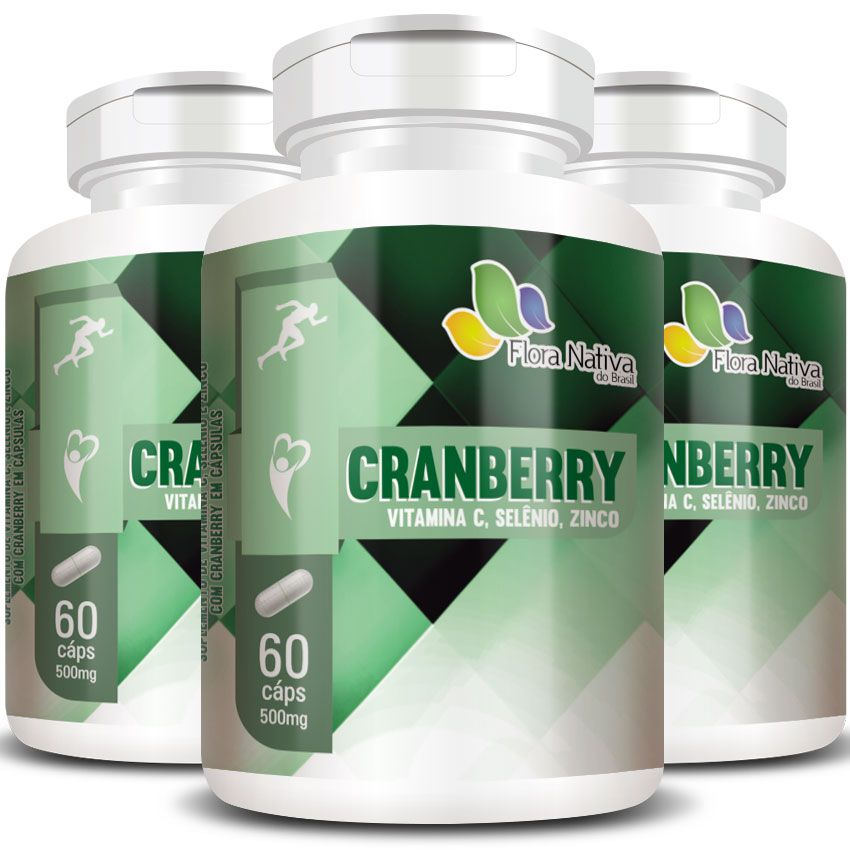 Cranberry + Vitamina C, Selênio e Zinco - 500mg - 3 Potes  - LA Nature