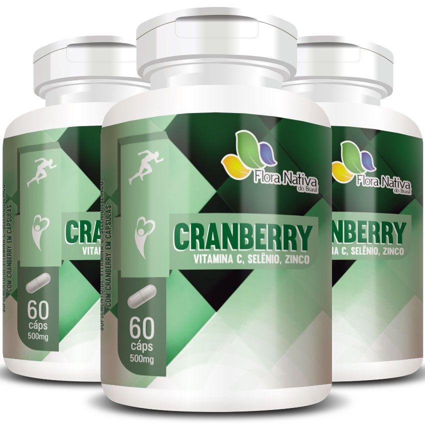 Cranberry + Vitamina C, Selênio e Zinco - 500mg - 3 Potes (180 cáps.)