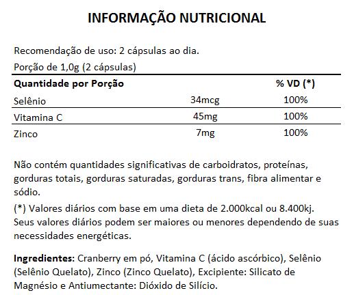 Cranberry + Vitamina C, Selênio e Zinco - 500mg - 3 Potes  - LA Nature