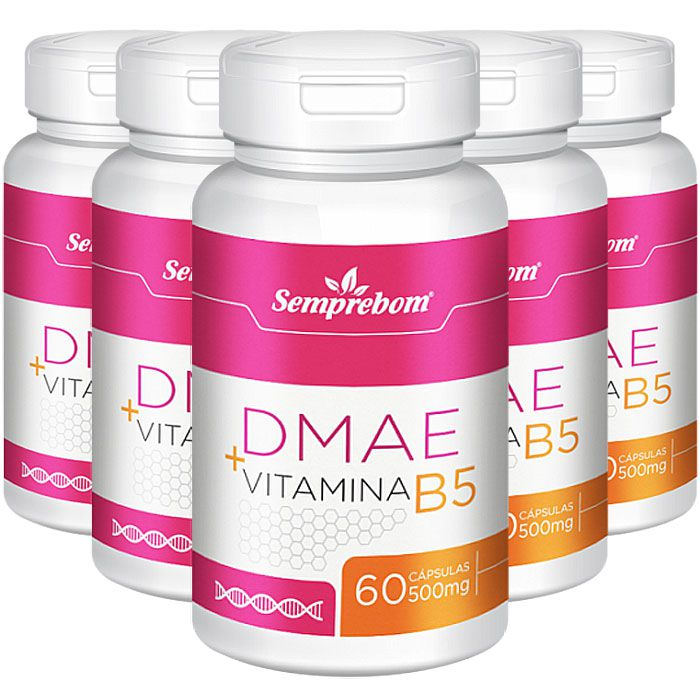 DMAE + Vitamina B5 - cápsulas de 500mg (05 Potes)  - LA Nature