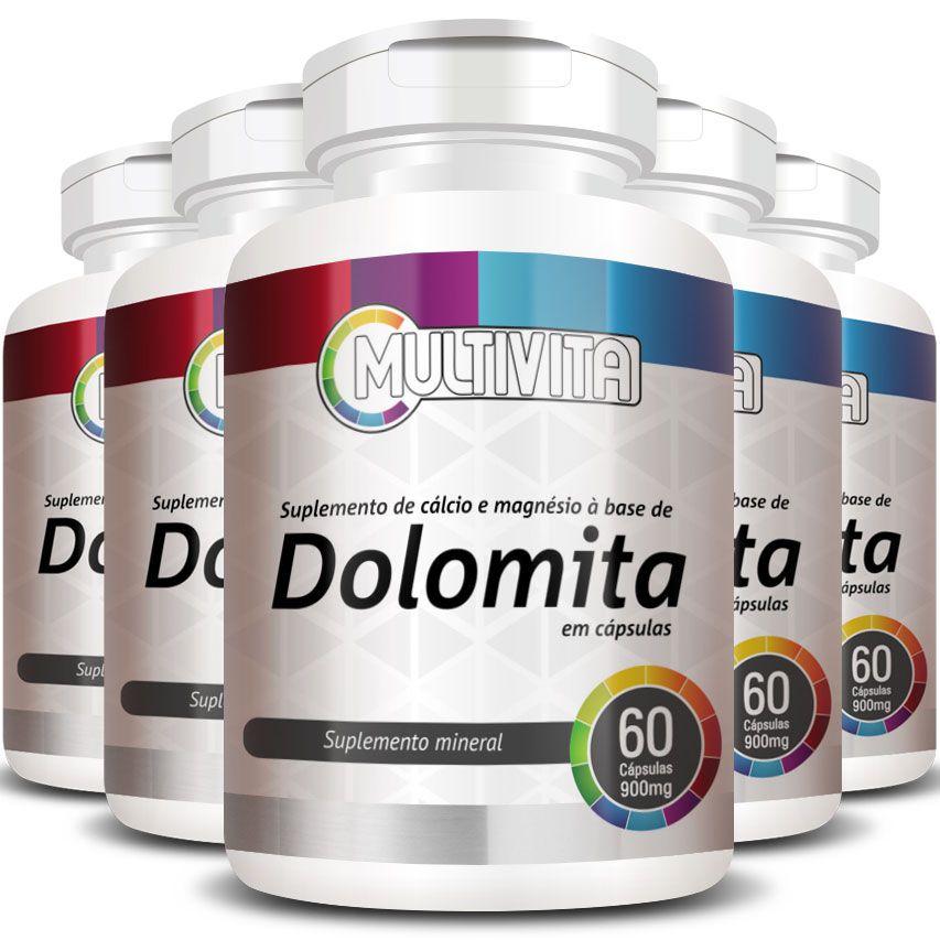 Dolomita - 900mg - 05 Potes (300 cápsulas)  - LA Nature