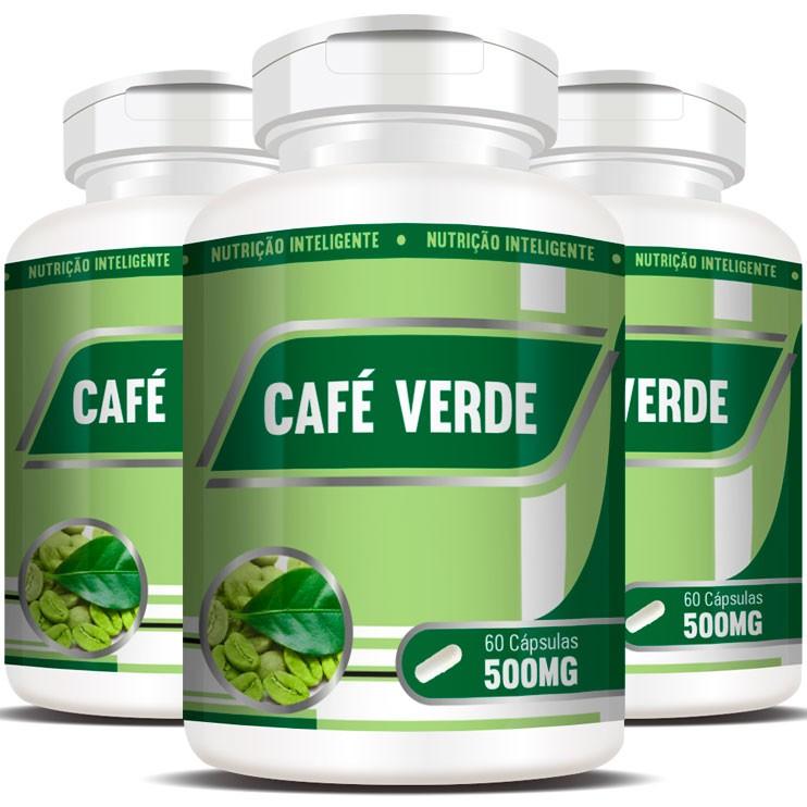 Emagrecedor Café Verde Green Coffee 500mg - 3 Potes (180 cáps.)