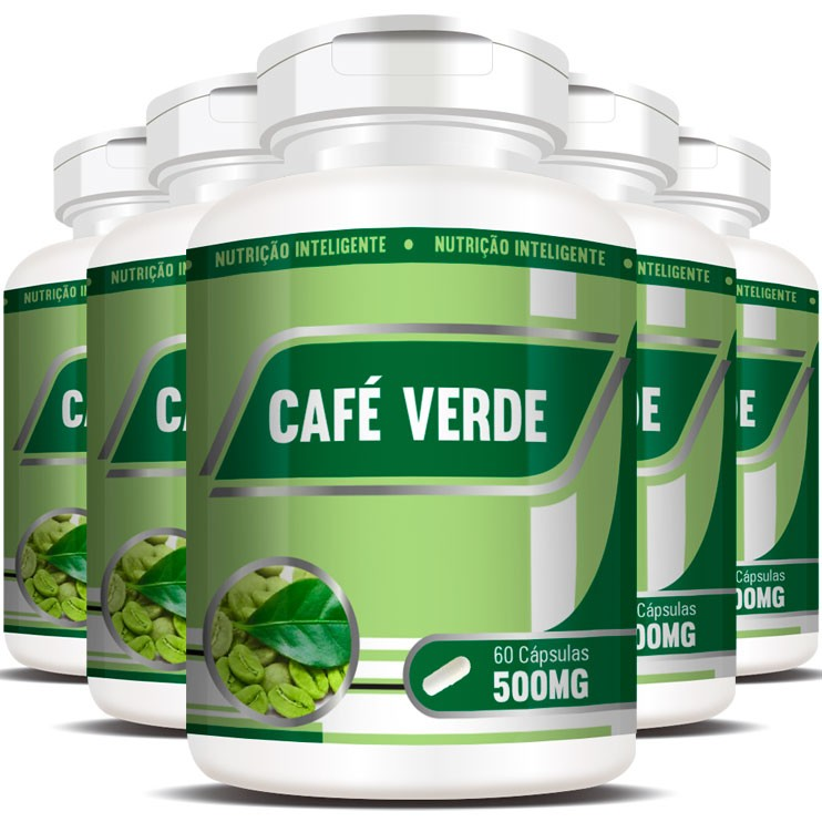 Emagrecedor Café Verde Green Coffee 500mg - 5 Potes (300 cáps.)