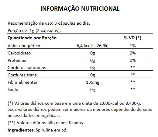 Emagrecedor Spirulina 100% Pura Original 450mg - 03 Potes  - LA Nature