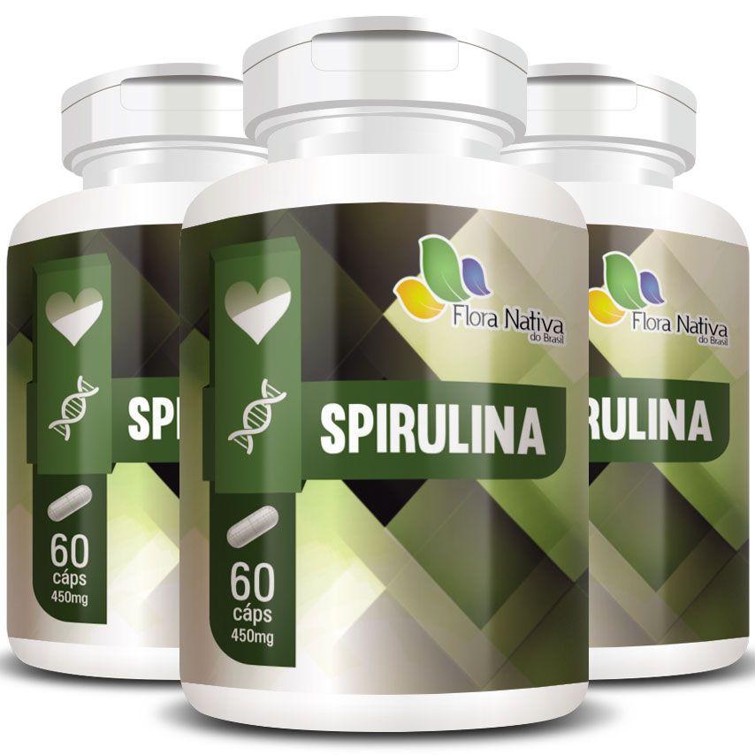 Spirulina 100% Pura Original 450mg - 3 Potes (180 cáps.)