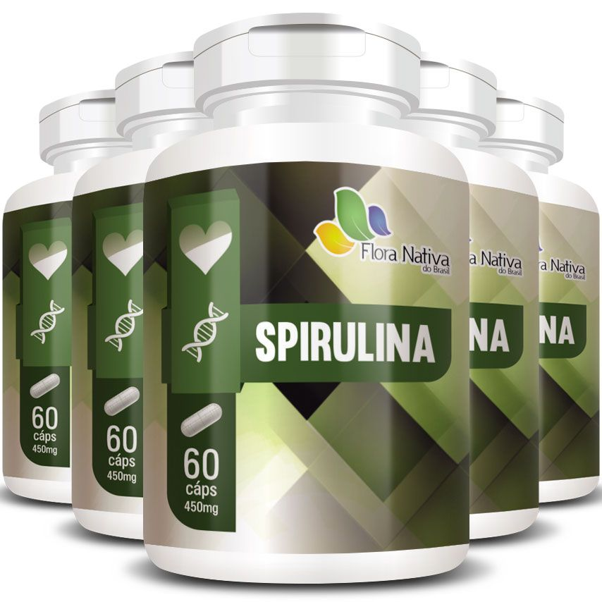 Emagrecedor Spirulina 100% Pura Original 450mg - 05 Potes  - LA Nature