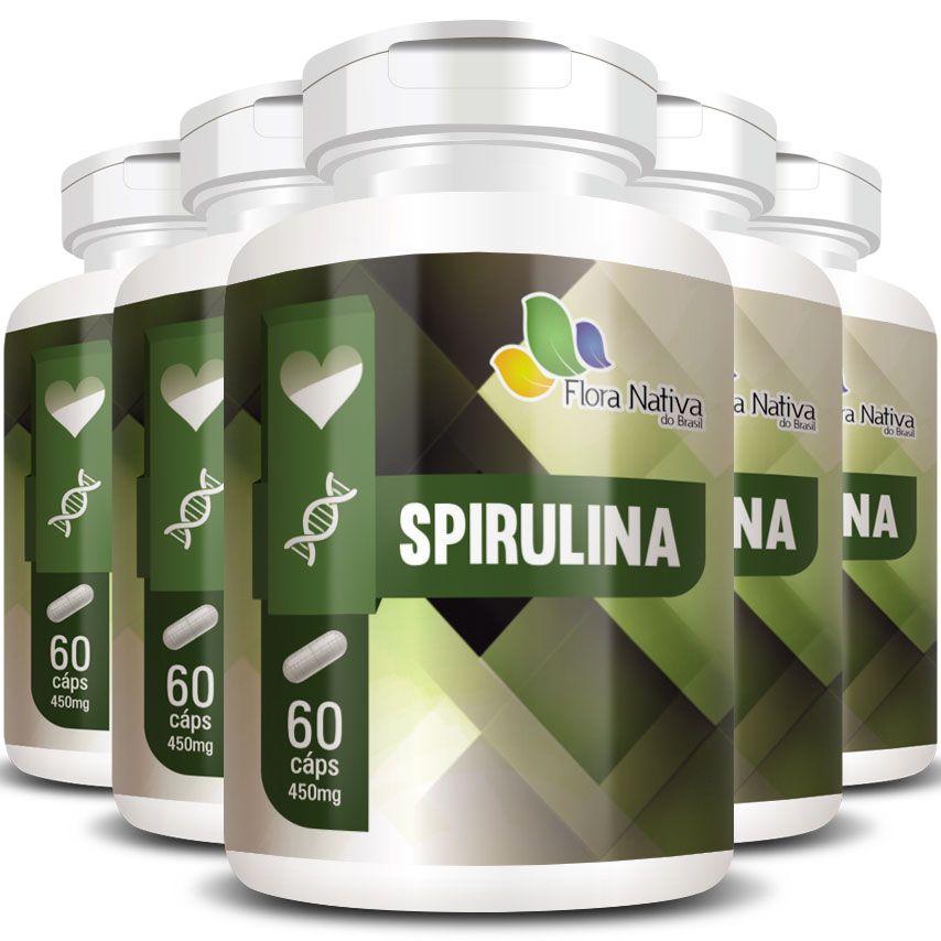 Emagrecedor Spirulina 100% Pura Original 450mg - 5 Potes (300 cáps.)
