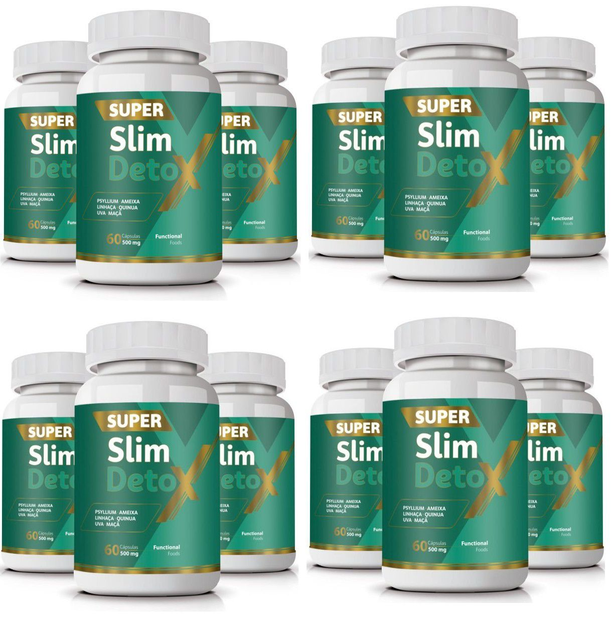 Emagrecedor Super Slim Detox Original  500mg | Atacado 12 Potes  - LA Nature