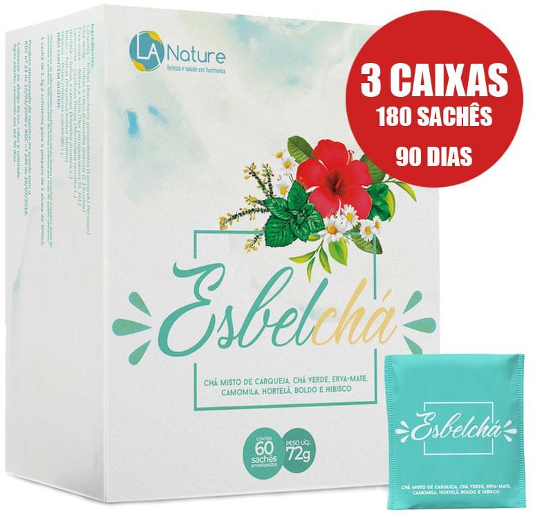 Esbelchá Original Chá 7 Ervas Naturais 180 Sachês Emagrecedor - 3 Caixas  - LA Nature