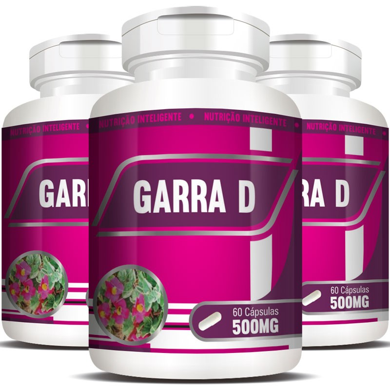 Garra D 500mg - Garra do Diabo - 100% Pura - 3 Potes (180 cáps.)
