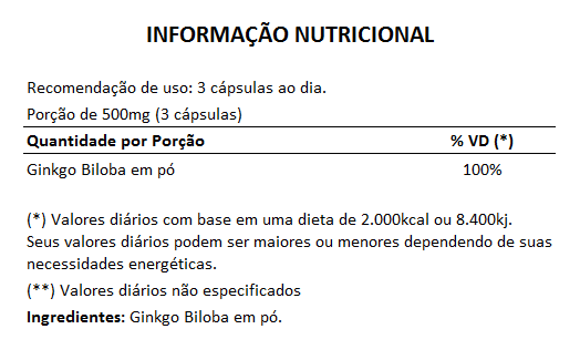 Ginkgo Biloba (Bai Guo) 100% Vegano - 500mg - 1 Pote  - LA Nature