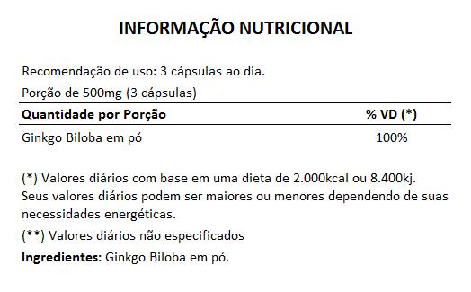 Ginkgo Biloba (Bai Guo) 100% Vegano - 500mg - 3 Potes  - LA Nature