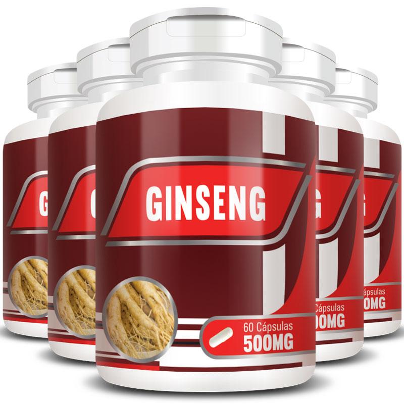 Ginseng 500mg - 100% Puro - 5 Potes (300 cáps.)