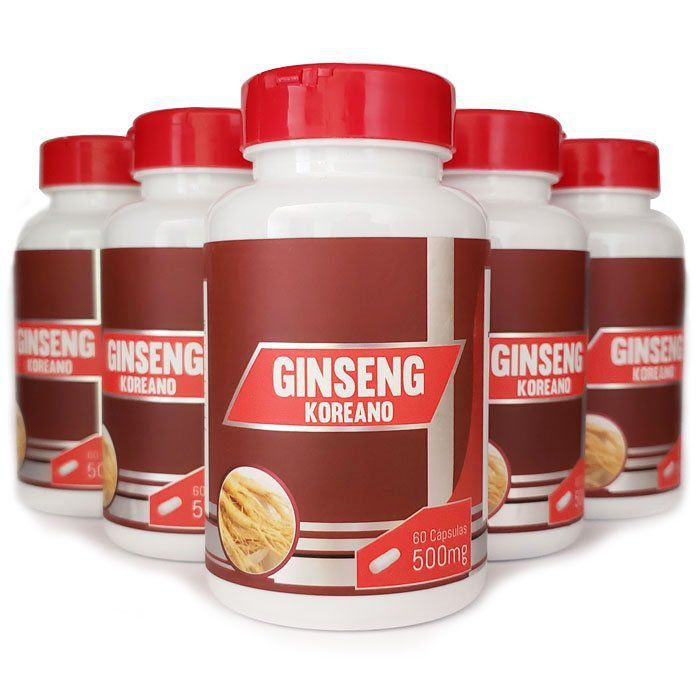 Ginseng Coreano - Original - 500mg - 5 Potes  - LA Nature