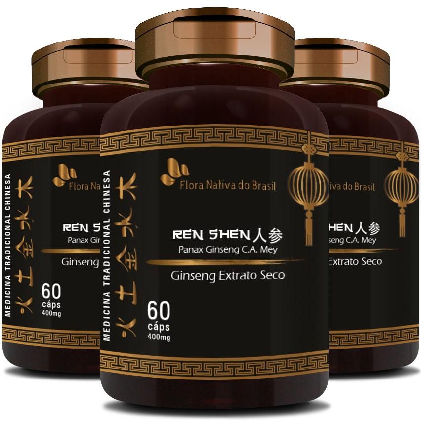 Ginseng Extrato Seco (O Legítimo) - 400mg - 3 Potes (180 cáps.)