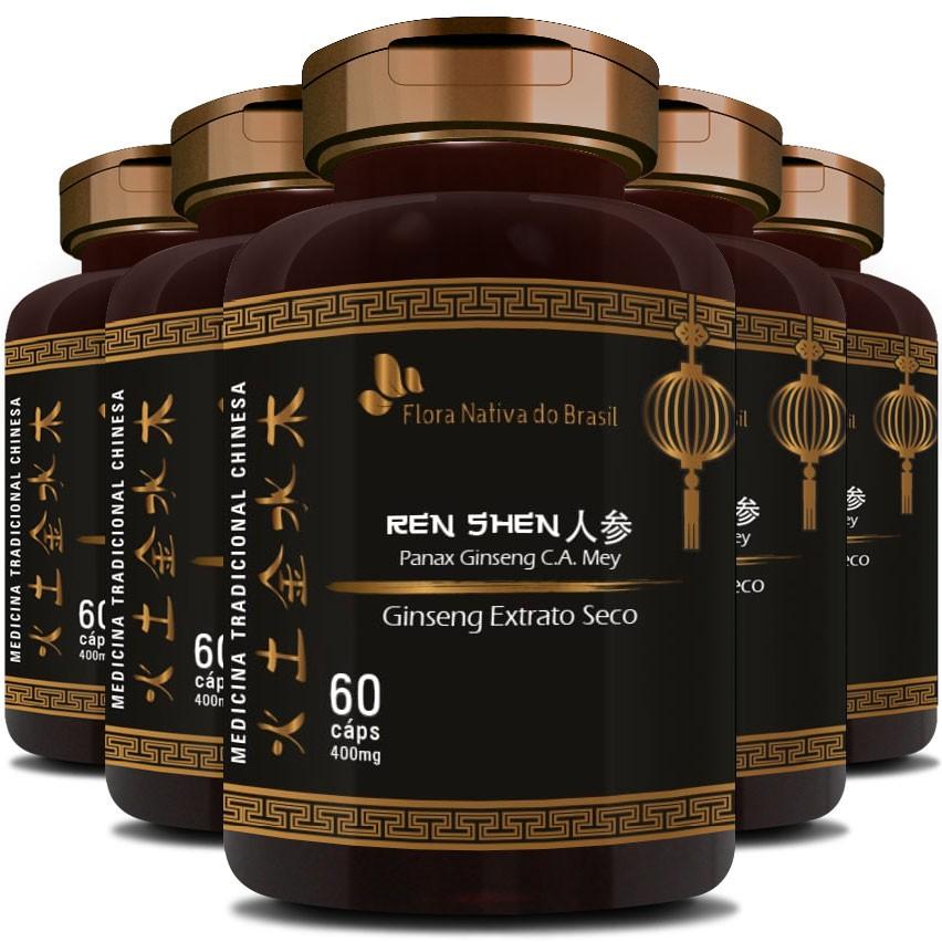 Ginseng Extrato Seco (O Legítimo) - 400mg - 5 Potes (300 cáps.)